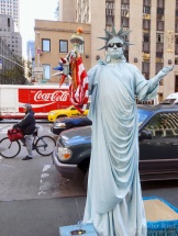 New York City. Statue of Liberty. Mime
